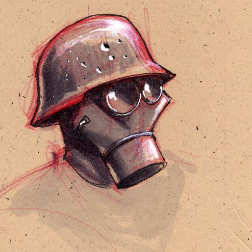 Gas Mask WWI Concept Sketch